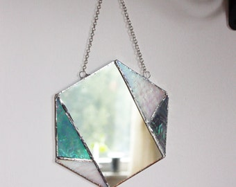 Stained Glass Geometric Hanging Mirror