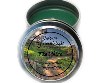 The Shire Soy Candle Tin; Fresh Cut Grass Scented; Lord of the Rings Gift; Tolkien; Book Lover Gift; LOTR Gift;