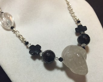 Asymmetric Clear Quartz Skull Pendant Necklace with Onyx and Jet Beads