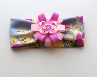 Floral headband / spring floral headband with pink flower