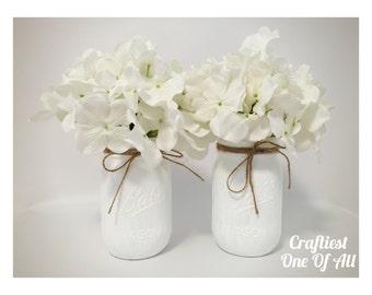 White mason jar with twine