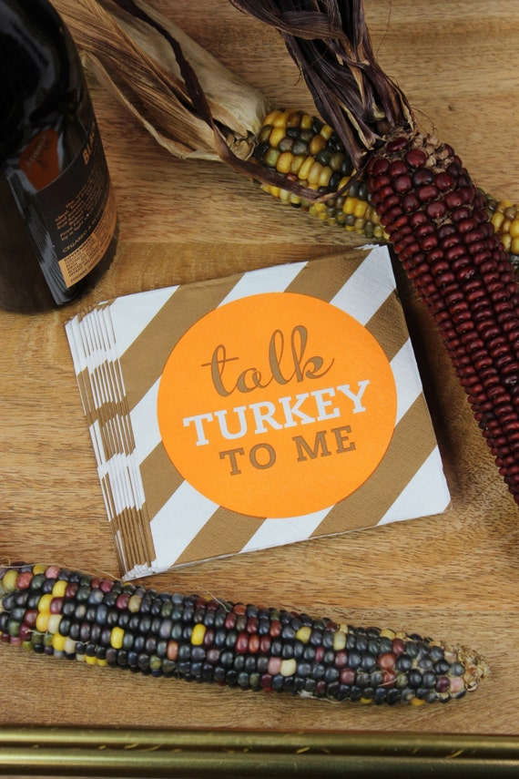 Thanksgiving napkins turkey beverage napkins by for Turkey napkins