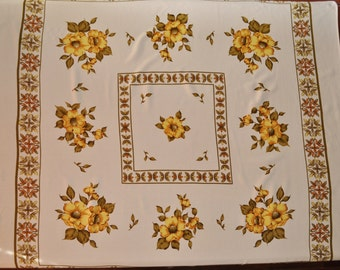 Square Floral Tablecloth - Yellow Flowers - 123cm Square - Retro