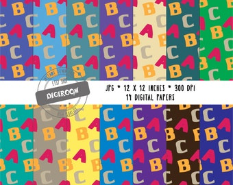 ABC Pattern Digital Paper Pack Web Background Scrapbooking Paper Personal and Commercial use Instant Download 12 x 12 inches (DP08)