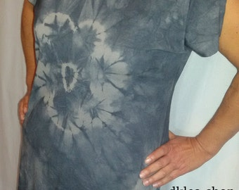 Shades of Grey - Hand-dyed Hippie Boho Grey casual short sleeve T-Shirt Men's Woman's