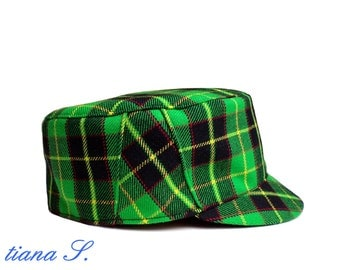 CAP, plaid Green Black, size S