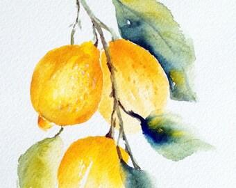 Lemon painting. Lemon art. Original watercolor painting. Fruit watercolor. Fruit painting. Small fruit watercolor painting. Lemon watercolor