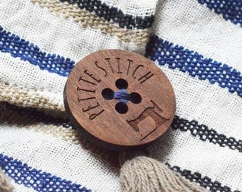 Wood Buttons in Walnut | Personalised Buttons | Wooden Buttons | Custom Buttons | Laser Cut