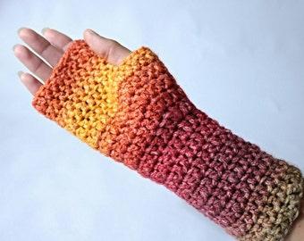 Fingerless gloves, arm warmers. Crochet rainbow gloves.
