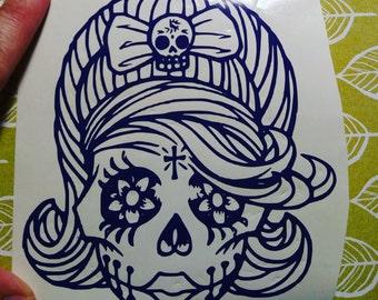 Rockabilly sugar skull car window decal