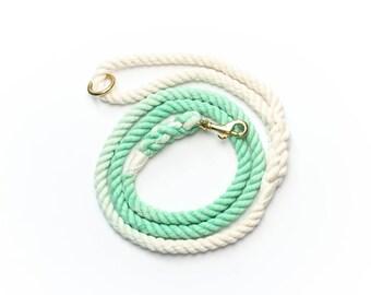 Ombré Mint - cotton rope dog leash