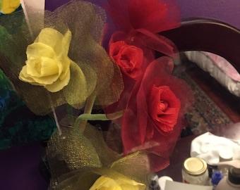 Handmade paper fabric flowers