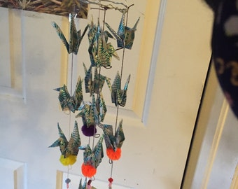 Windchime made with paper birds