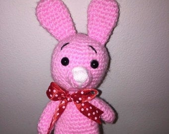 """Hand Knitted Pink Rabbit Toy 5"""" Unique Handmade Soft Toy"""