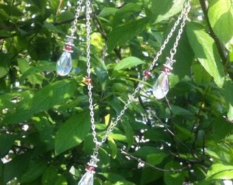 Swarovski earrings, crystal necklace, colorful necklace, czech glass, rainbow quartz, wedding jewelry, silver necklace, bridal jewelry