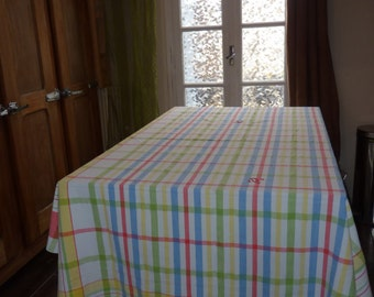 cotton checkered tablecloth embroidered hand Monogram old retro vintage from France