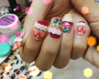 Strawberry nails>>sweet nails,kawaii nails ,nail art ,nail 3d ,fake nails,acrylic nails,deco,cartoon nails,my melody,pinknails