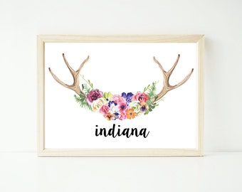 Custom watercolour bohemian boho floral antler artwork print up to extra large A1