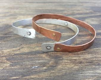 Steam Punk Jewelry Sterling Silver Bangle Copper Bangle Adjustable Bangle Silver Bracelet Copper Bracelet Mens Bracelet Gift for Him
