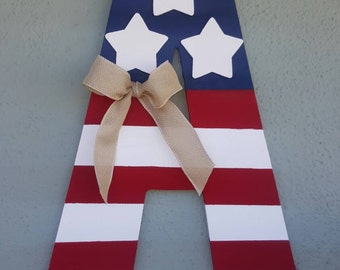 Patriotic Monogram Letters - 4th of July, Flag Day, Memorial Day, Veterans Day