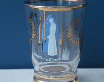 Vintage French. Holy communion souvenir glass. First communion.