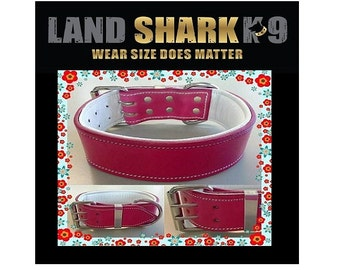 Pink Leather 2 Inch Dog Collar with Soft White Leather Inner Lining