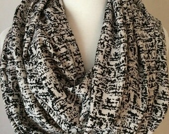 Black and Cream Silky Infinity Scarf Lightweight Tube Scarfs Scarves Fall Winter Gift for Her Simple