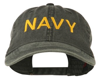 Navy Embroidered Military Washed Cap