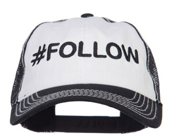 Follow Embroidered Cotton Mesh Cap