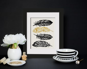 Feathers|Real Foil Print|OPTIONAL Frame|Baby Tribal Art|Boho Nursery|Gold Feather Gift Ideas For Her|Framed Foil Print|Boho Chic Dorm Decor