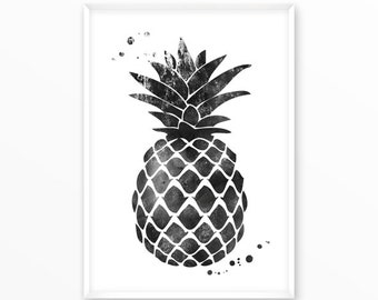Pineapple, watercolor, Print, printable, digital, Typography, Poster, Vintage, Grunge,Inspiration Home Decor, Screenprint, wall art, gift