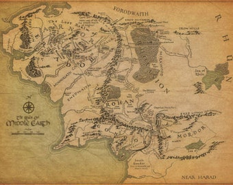 """The Lord Of The Rings Middle Earth Map 31x24"""""""