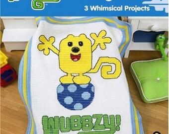 WOW WOW Wubbzy, Leisure Arts Crochet Childrens Afghan Pattern Booklet 4647 Walden Widget