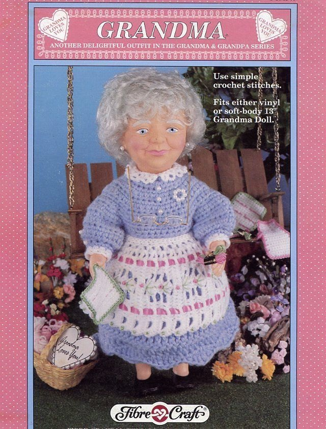 Grandma fibre craft 13 doll clothes crochet by lucygooseydolls for Fibre craft 18 inch doll