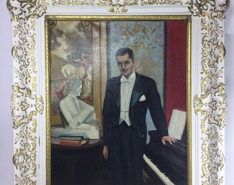 Vintage oil painting of man in tuxedo by a piano. Books  white and gold frame 23in. x 27in.
