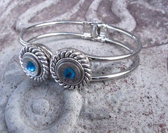Silver Hinged Bracelet with 9mm Bullet Casing