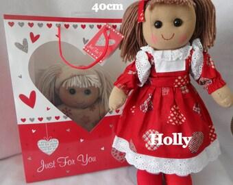"personalised rag doll christmas,birthday,flowergirl,christening, & gift bag 16"" doll"