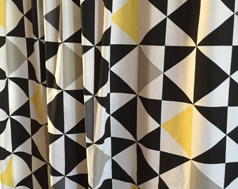 Windows Curtains Bedroom Curtain Cotton Fabric Geometric Curtains White  Black Yellow Geometric Curtains Part 85