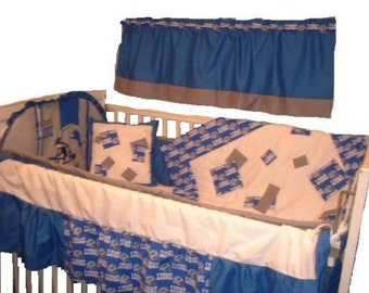 Detroit Lions Custom Made 8 pc (or made bumperless or in pink) nursery baby crib bedding set mw NFL Detroit Lions fabric NEW