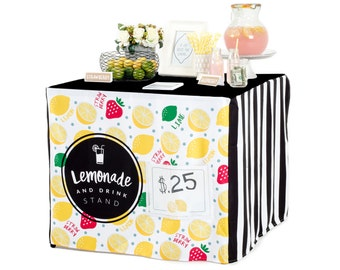 Easy Lemonade Stand with Nothing to Assemble!  Slides over your card table for an easy summertime biz.