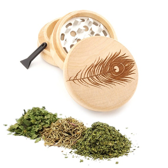 Peacock Feather Engraved Premium Natural Wooden Grinder Item # PW050916-72