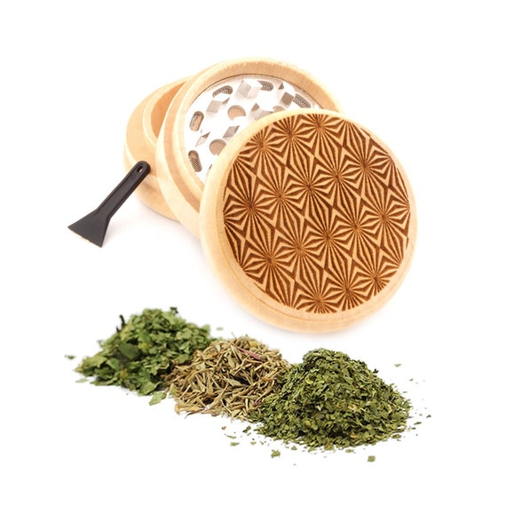Psychedelic Engraved Premium Natural Wooden Grinder Item # PW91316-38