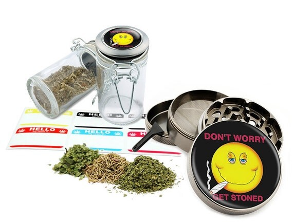 "Don't Worry - 2.5"" Zinc Alloy Grinder & 75ml Locking Top Glass Jar Combo Gift Set Item # G022115-021"