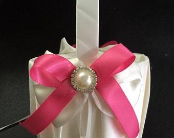 FLOWER GIRL BASKET Ivory and Hot Pink