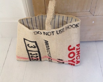 Upcycled burlap coffee sack tote bag