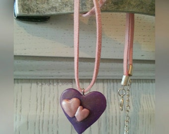 Heart shaped polymer Clay necklace/pendant PolymerClay