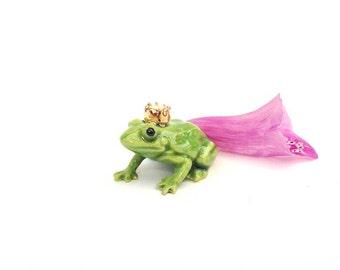 Miniature ceramic frog, frog figurine, toad, fairy garden, fairy garden supplies, fairy garden frog, miniature garden, deer with antlers,