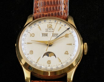 18K Solid Gold Triple Date Moonphase Watch