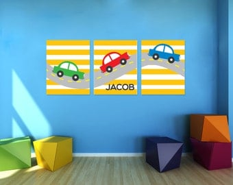 Boys Cute Cars Wall Art, set of 3 - Personalized Nursery Prints - canvas or printable- cars nursery art - boys room art- car theme- baby boy