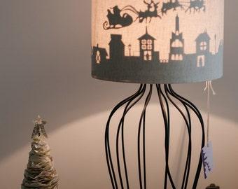 Christmas sleigh silhouette lamp shade